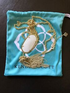 """Kendra Scott Rayne White Mother-of-Pearl 14K GP Pendant Necklace,  30"""""""