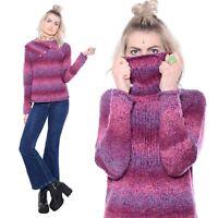 Vtg 90s Purple SPACE DYE Club-Kid Grunge Turtleneck Striped Knit Sweater Top S M