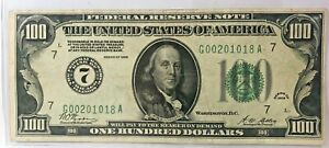 "1928 $100 FEDERAL RESERVE NOTE~~DISTRICT 7 (CHICAGO)~~""GOLD ON DEMAND"" CLAUSE"