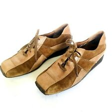 SEMLER SELECT GERMANY WOMENS BROWN LEATHER/SUEDE WEDGE SNEAKER/OXFORD 7.5