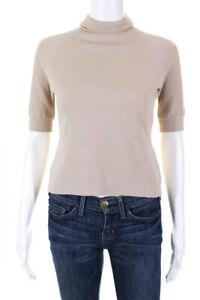 Jil Sander Womens Wool Mock Neck Short Sleeve Top Beige Size S