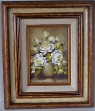 Vintage K Hebart or Hebant Oil Painting Roses in Vase Framed