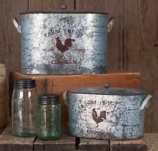 Rustic Farmhouse Farm Fresh Chicken Bucket Bins, Nesting Set of Two With Lids