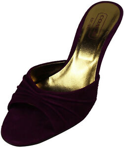 """SINGLE LEFT SHOE REPLACEMENT COACH Selma 6 1/2 B Plum 3 1/4"""" Heel Made In ITALY!"""