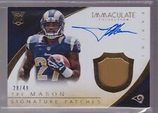 2014 Immaculate Tre Mason On Card Auto Jersey Patch Rc Serial # To 49