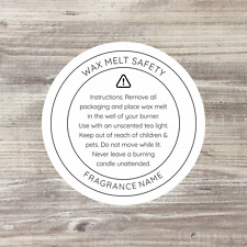 35 x Wax Melt Safety Label, Soy Candle Stickers, Wax Melt Stickers, Wax Candles