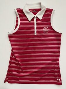 Under Armour Womens Pink Striped Sleeveless Polo Shirt Medium