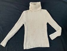 Paul & Shark ecru rib-knit turtleneck soffft merino pullover sweater-XL