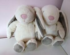 Set of 2 Sainsburys Play & Grow Cream Grey Ears Bunny Baby Soft Plush Hug Toys