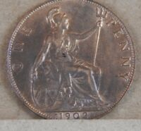 1902 Edward VII  1 penny Nice lustre and grade