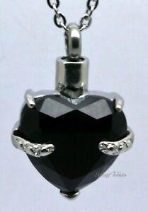 Cremation Urn Pendant Keepsake Necklace Black Heart