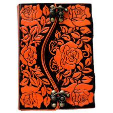 Genuine Leather Handmade Paper Colored Flower Embossing Journal Diary, 2 Locks
