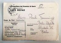 Lot of 2 - 1947 WW2 Prisoner of War folded letter & postcard - c-682