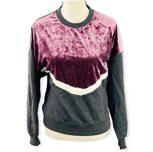 Freshman Women's Juniors' Size M Velvet Chevron Sweatshirt Gray Violet White