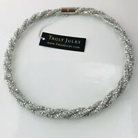 UK Ladies Luxury Designer Sparkling Silver Necklace Magnetic Jewellery Gift