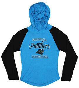 OuterStuff NFL Youth Girls Long Sleeve Hooded Shirt, Carolina Panthers