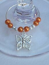 20 Orange Pearl Wine Glass Charms With Butterflies. Wedding. Favours. Party.