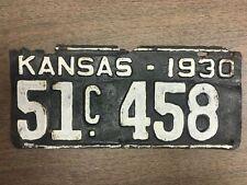 1930 Harper County 51 Kansas License Plate 51 458 Tag