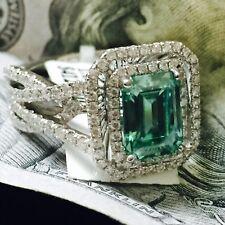 3.51 Ct vs Fantasía Esmeralda Verde Moissanita Anillo de Compromiso Diamante