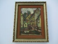 FINEST OTTO ANTOINE OIL PAINTING GERMAN IMPRESSIONIST VILLAGE CITY STREET SCENE