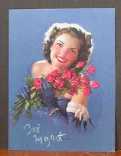 Rare Hand Signed Zoe Mozert Glamour Calendar Top For You Brunette Holding Roses