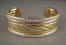 "shiny Gold tone silver sparkle glittery metal bangle cuff 1"" wide bracelet"