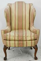 Chippendale Style Mahogany Wing Chair Ball and Claw Feet Williamsburg Style