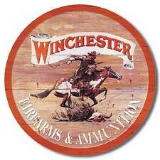 "Winchester Firearms 12"" Round Tin Sign Nostalgic Metal Sign Retro Home Decor"