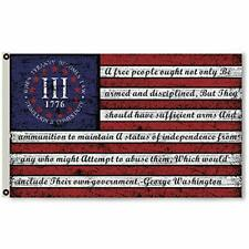 Three 3% Percenter Rebellion Tyranny George Washington Vintage American Flag