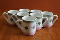 "Caleca Hand Painted Pottery Belvidere Seven 4"" Ear Handle Mugs Italy Excellent"