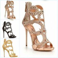 Glitter Rhinestone Gladiator Sandals Stiletto High Heels Hollow Womens Peep Toe