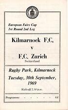 69/70 Kilmarnock v FC Zurich (Fairs Cup)