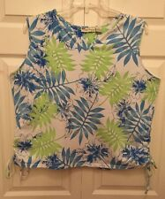 Palm Harbour Women's Size 3X, Tank, Cami Tropical Floral Shirt, With Side Ties,