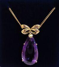 Fine Edwardian Style Vintage c.1966 Amethyst Necklace 375 (9ct) Gold
