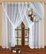 """Long window curtain made of white voile with stitched guipure lace 92"""" x 197"""""""
