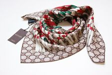 New Authentic Gucci Medium Beige Edrial Print Silk Twill Scarf