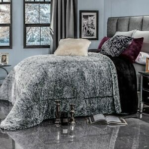 GRAY PLATINUM SOFT FLANNEL BLANKET WITH FAUX FUR THICK WEDDING WARM KING SIZE