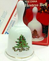 Vintage Christmas Tree Hostess Bell with Box Fine China Holiday Collectible