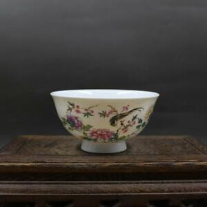Collect Chinese Jingdezhen Porcelain Famille Rose Peony Flowers and Birds Bowl