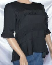 NEW Ladies WHO WHAT WEAR Ebony Ruffle Layer Dress Blouse Evening Shirt Top sz XS
