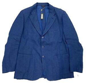 $3,000 Loro Piana Blue Linen Denim Blazer Size US 46, EU 56 Made in Italy