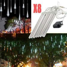 30cm x 8 white waterproof led meteor shower snowfall Rain Tube Xmas lights Tree~
