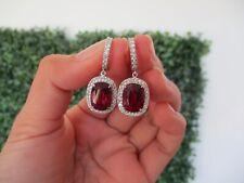 1.22 Carat Diamond 10.16 Carat Rubellite White Gold Dangling Earrings 14k E329