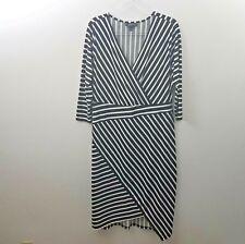 Lane Bryant Dress 14 16  Plus Size Black White Stripe V neck Faux Wrap Stretch