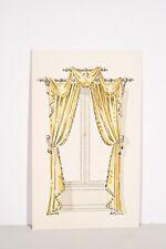 Petit pochoir déb. XX° Rideaux Fenêtre Tissu drapé jaune, décoration