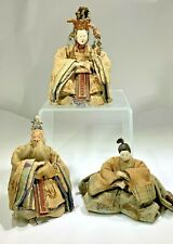 Antique Hina Japanese Emperor,Empress Doll, Priest Edo Period Dolls in Silk