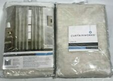 Lynette Floral Embroidered Rod Pocket Curtain Panel Linen - Lot of 2! NEW!