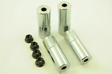 "SET OF 4 BMX CHROME STUNT PEGS 14mm AXLE + NUTS 4"" (100mm) 40mm DIA  GRIND PEGS"