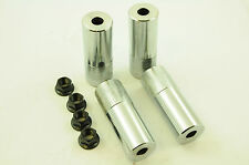 "Lot de 4 BMX CHROME Stunt Pegs 14 mm Essieu + écrous 4"" (100 mm) 40 mm DIA Grind Chevilles"