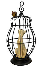 More details for cat in a birdcage resin metal hanging ornament sculpture ornaments collectable